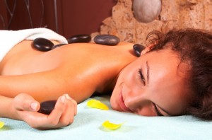 Spa girl with hot stones